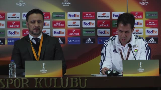Head coach Vitor Pereira of Fenerbahce holds a press conference after the UEFA Europa League Round of 32 first leg match between Fenerbahce and...