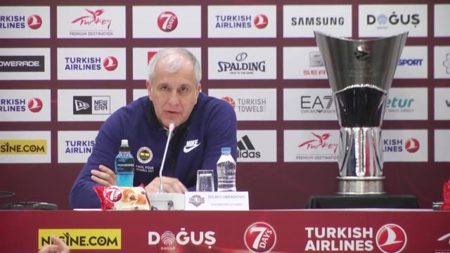 Head coach Zeljko Obradovic of Fenerbahce speaks during press conference before the Turkish Airlines Euroleague Final match between Olympiacos...