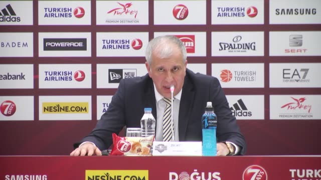 Head coachs Zeljko Obradovic of Fenerbahce and Pablo Laso of Real Madrid speaks during press conference after the Turkish Airlines Euroleague Final...