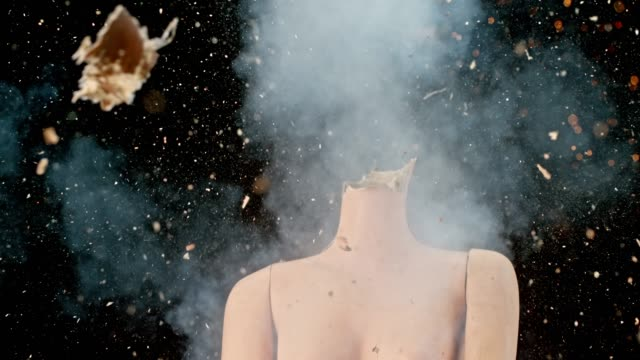 slo mo ld head of a female mannequin exploding - destruction stock videos & royalty-free footage