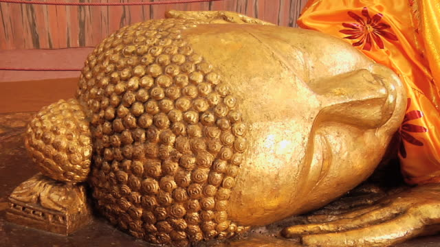 ms head of ancient excavated buddha statue in a temple / kushinagar, uttar pradesh, india - uttar pradesh stock videos and b-roll footage