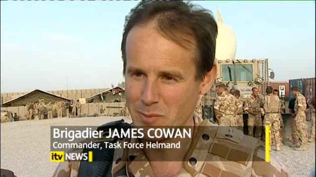 head of british forces remains confident of success in helmand afghanistan helmand province ext british military helicopters taking off view through... - 2001年~ アフガニスタン紛争点の映像素材/bロール