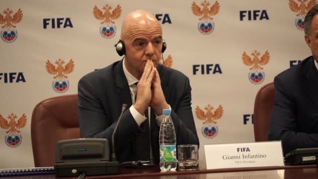 head of fifa gianni infantino praises russias preparation for the world cup which appears to be broadly on target he says at a press conference in... - gianni infantino stock videos and b-roll footage
