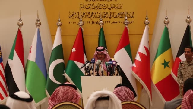 head of media affairs at the saudi arabia's ministry of foreign affairs ambassador osama nugali and official spokesman of forces of coalition for the... - golfstaaten stock-videos und b-roll-filmmaterial