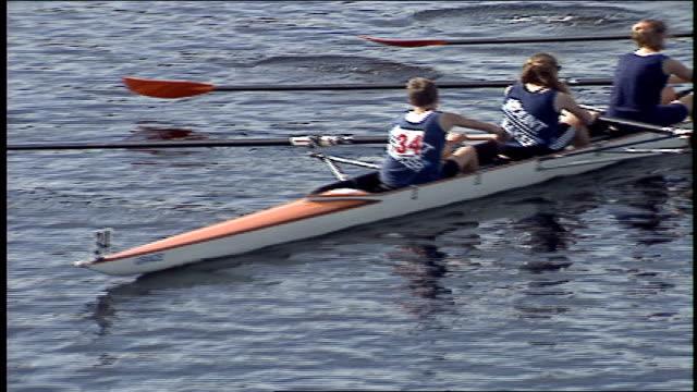 head of the charles regatta on charles river in boston - fluss charles stock-videos und b-roll-filmmaterial