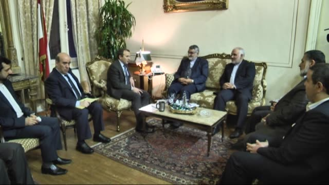 head of the iranian parliament's national security and foreign policy committee, alaaddin burucerdi meets with lebanese minister of foreign affairs... - minister clergy stock videos & royalty-free footage