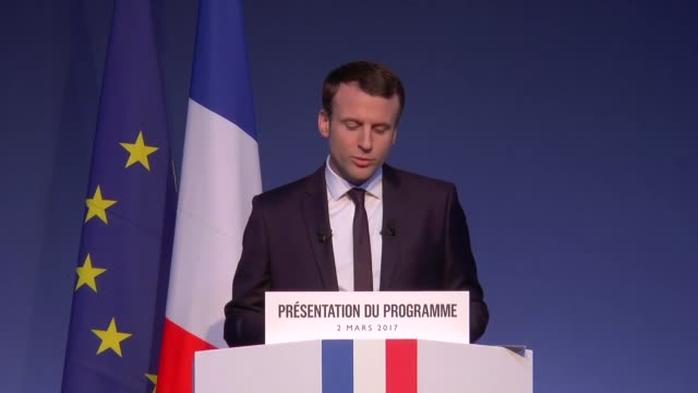 head of the political movement 'en marche ' emmanuel macron delivers a speech to unveil his program during a press conference on march 02 2017 in... - produced segment stock videos & royalty-free footage