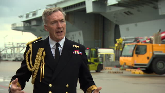 """head of the royal navy, admiral tony radakin saying hms queen elizabeth """"speaks to our values, interests and what we stand for"""" - hobbies stock videos & royalty-free footage"""