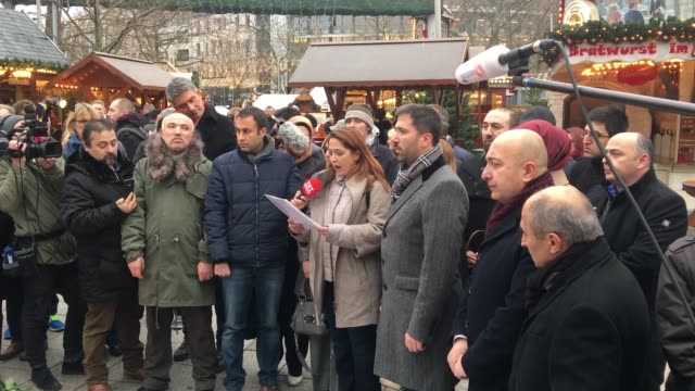 head of the union of european turkish democrats zafer sirakaya and members of the uetd pay tribute to the victims of a terror attack on a christmas... - terrorism stock videos & royalty-free footage
