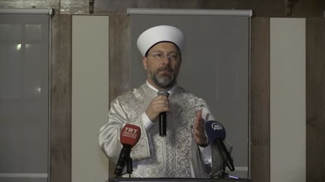 stockvideo's en b-roll-footage met head of turkey's religious affairs directorate ali erbas attends a meeting with the leaders of the american muslim community at diyanet center of... - 40 seconds or greater