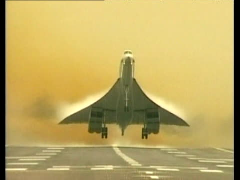 Head on shot of Concorde taking off