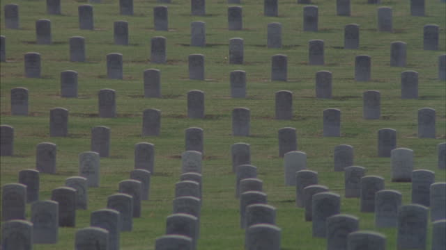 Head stones stand in straight lines at Los Angeles National Cemetery.