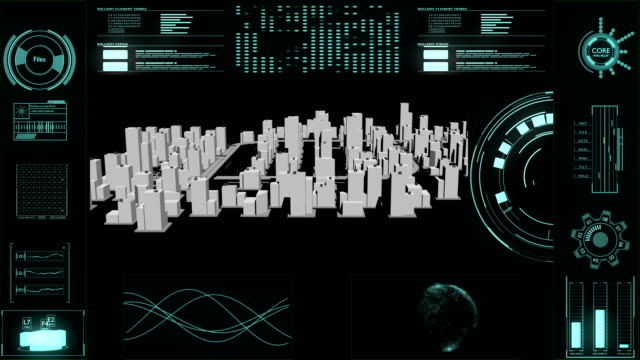 head up display motion graphic with city building background - head up display parte di veicolo video stock e b–roll