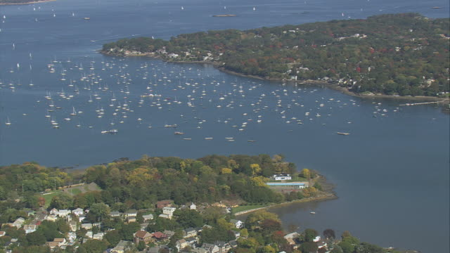 aerial headland and inlet harbor, dozens of sailboats out on open water and houses stretching to shore / salem, massachusetts, united states - salem massachusetts stock videos & royalty-free footage