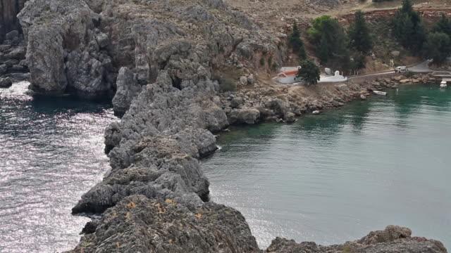 headland near lindos - rhodes dodecanese islands stock videos & royalty-free footage