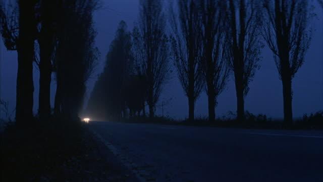 vidéos et rushes de headlights approach down a tree-lined rural road. - phare avant de véhicule