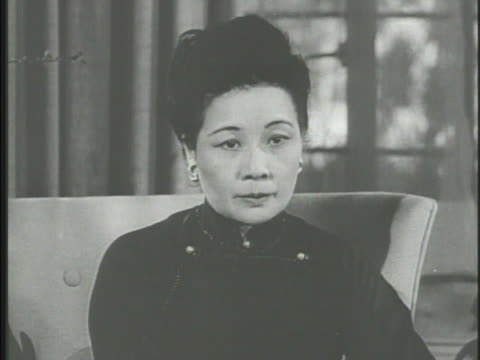 headline, 'china reds get britain's ok.' first lady of republic of china soong may-ling speaking about shame in supporting communism , '...that which... - taiwan stock videos & royalty-free footage
