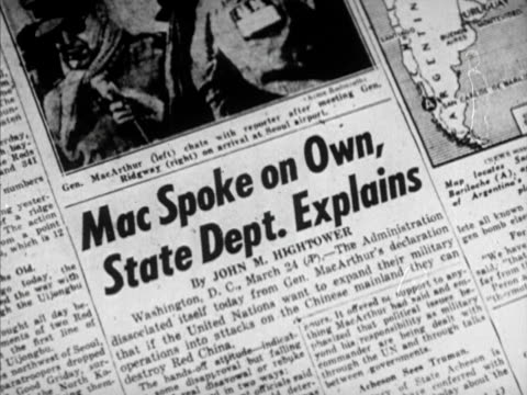 newspapers headline 'mac bids reds to peace talk' article header 'mac spoke on own' 'truman fires macarthur' truman speaks ms president harry s... - general macarthur stock videos & royalty-free footage