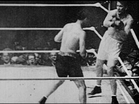 headlines 'tunney win', former champion jack dempsey boxing in ring fight w/ heavyweight champion gene tunney, dempsey knocking tunney down, referee... - newsreel stock videos & royalty-free footage