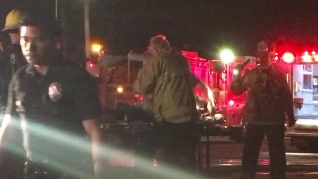 Headon collision in North Hills Roscoe at the train tracks east of Balboa possible drunk driver fled on foot passenger in ambulance other car had a...