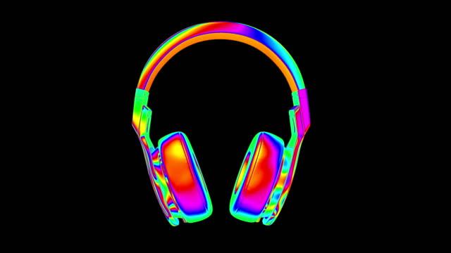 headphones 4k loop alpha - digital enhancement stock videos & royalty-free footage