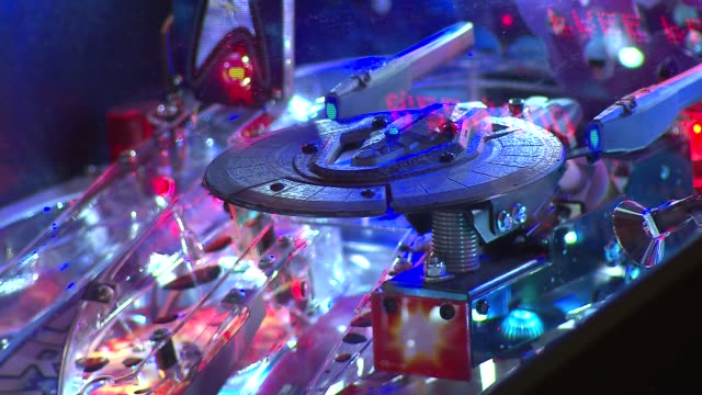headquarters bar in downtown chicago combines the love of craft beer and arcade games star trek pinball machine on october 10 2013 in chicago illinois - pinball machine stock videos & royalty-free footage