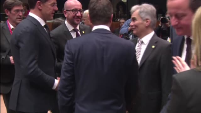 eu heads of government gathered in brussels on the second day of eu summit during which economy and libya are among the top subjects in belgium on 20... - 2日目点の映像素材/bロール