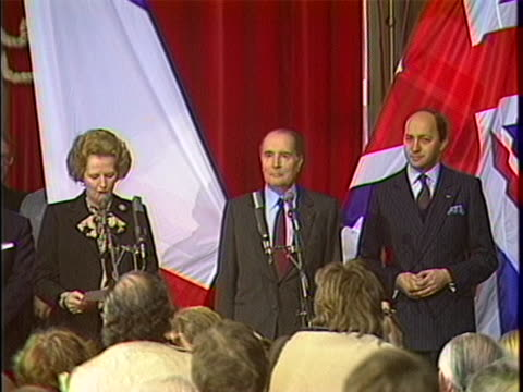 heads of state at the chunnel ceremony margaret hilda thatcher gives a speech discussing the uk and france's decision to link their countries under... - (war or terrorism or election or government or illness or news event or speech or politics or politician or conflict or military or extreme weather or business or economy) and not usa stock videos & royalty-free footage