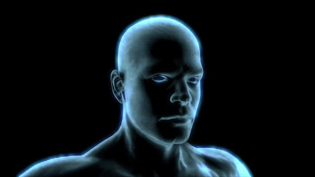 heads up display element of a holographic man rotating. - robot and human face stock videos & royalty-free footage