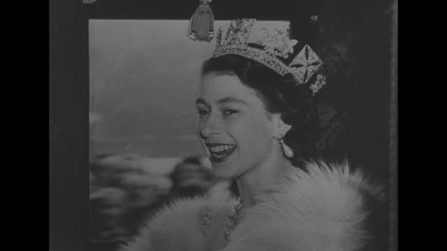 headshot of queen elizabeth ii wearing crown as she rides in coach to her first state opening of parliament as queen / note exact day not known - 1952 stock videos and b-roll footage