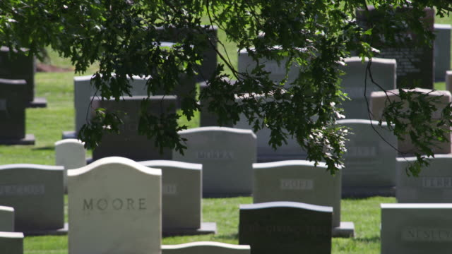 Headstones in Arlington National Cemetery, close view. Shot in May 2012.