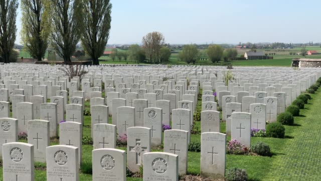 headstones of fallen soldiers from the first world war are seen at the tyne cot cemetery, the largest commonwealth war graves commission cemetery in... - anniversary stock videos & royalty-free footage