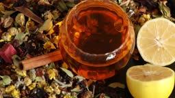 Healing herbs and healthy tea rotating 3