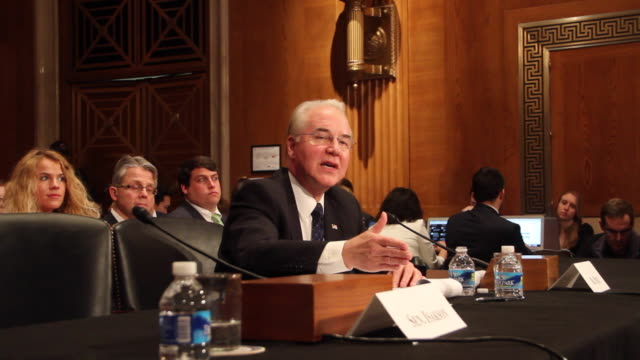US Health and Human Services Secretary Nominee Rep Tom Price testifies during his confirmation hearing January 18 2017 on Capitol Hill in Washington...