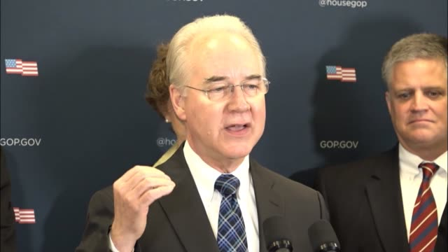 Health and Human Services Secretary Tom Price and House Republican Conference Chair Cathy McMorris Rodgers answer questions from reporters A reporter...