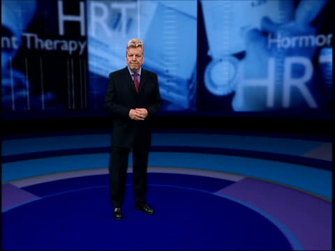 hrt health warnings itn england london gir i/c with vrg london tv presenter gloria hunniford in tv studio with cook gloria hunniford interview sot... - hormone stock videos & royalty-free footage