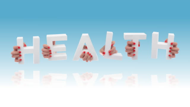 Health in white cardboard letters