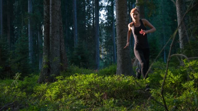 Gesundheitsorientiertes weibliche Läufer sprinten durch Wald