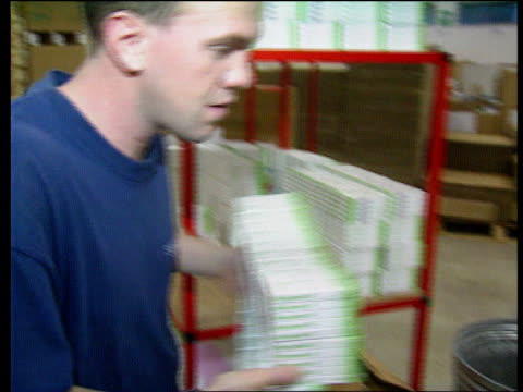 Safety of the Pill LIB Boxes of the pill in stacks Man placing packs of the pill into cardboard box Packs of pills lifted