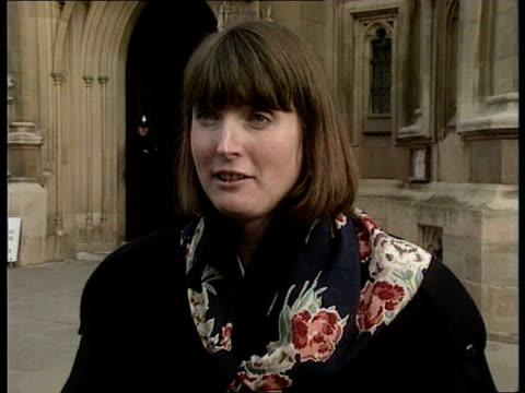 health service/pensioners' tax relief london westminster harriet harman mp tcms harman holding document from nw thames regional health authority... - インフレ点の映像素材/bロール