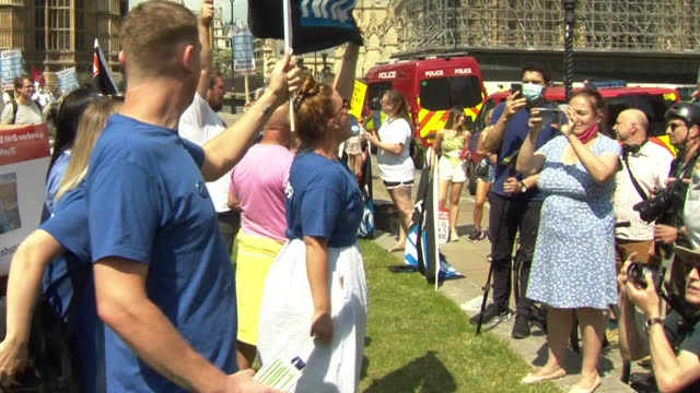 health unions protesting at westminster over pay reviews and wages for nhs staff - central london stock videos & royalty-free footage