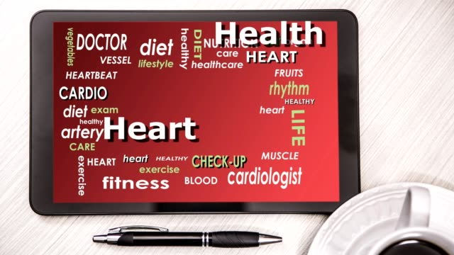 health word cloud on digital tablet screen. - pen stock videos and b-roll footage
