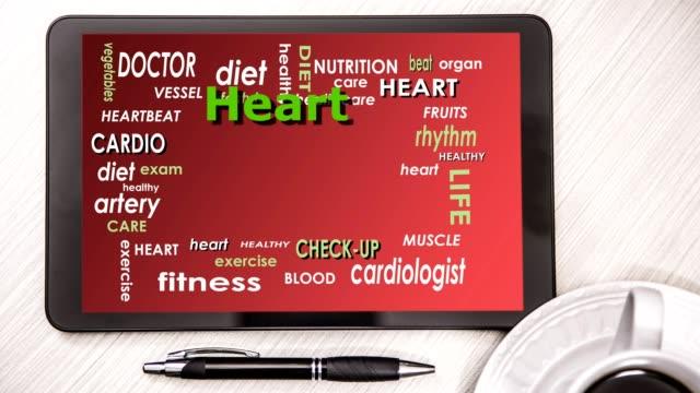 health word cloud on digital tablet screen. - protein bar stock videos & royalty-free footage