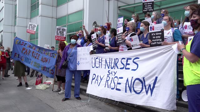 health workers march through the capital on a protest to demand an increase to a one percent pay rise july 03, 2021 in london, united kingdom. on... - growth stock videos & royalty-free footage