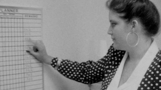 Healthcare worker checks patient names on dry erase board / Patient Dry Erase Board on November 01 1989 in Los Angeles California