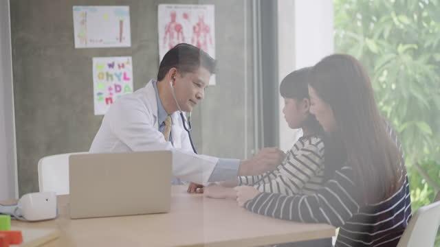 vídeos de stock, filmes e b-roll de a menina da saúde, verificando usando um estetoscópio, médico verificando o nível de pulso cardíaco de um paciente na mão, um adolescente vindo com a irmã velha, câmera lenta, reflexo da janela - 20 29 years
