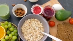 healthy breakfast of oatmeal and other food