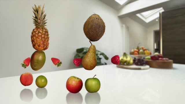 healthy dancing fruit - looping alpha channel animation - apple fruit stock videos & royalty-free footage