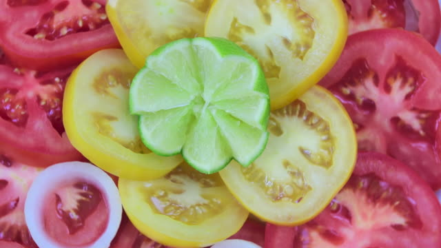 healthy eating: tomato salad turning in food display- close up - tomato salad stock videos & royalty-free footage