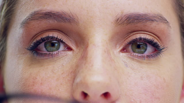 healthy eyes make for healthy moods - occhiali da vista video stock e b–roll